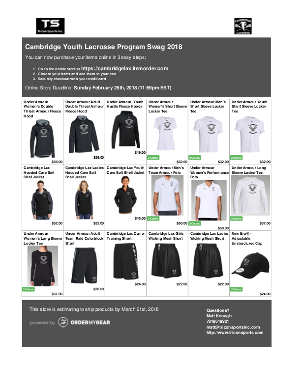 Cambridge Youth Lacrosse online swag store